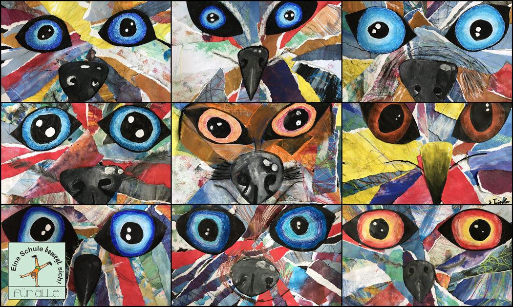 Kunst In Den 5 Klassen Beeindruckende Tiercollagen Gerhart Hauptmann Grundschule Grunheide Mark