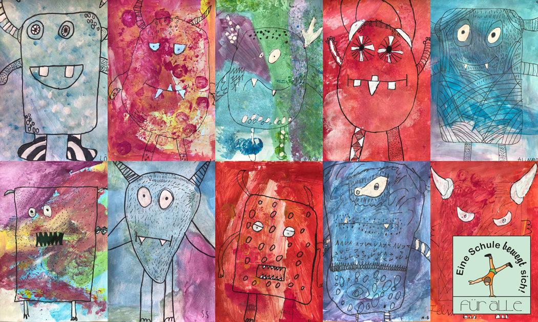 Kunst In Der Klasse 3c Lustige Warm Kalt Monster Gerhart Hauptmann Grundschule Grunheide Mark